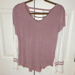 Moral Fiber Dusty Rose Long Tee With Open Back